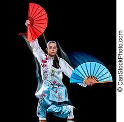 chuan, frau, chi, freigestellt, tadjiquan, schwarzer hintergrund, licht, gemälde, tai, haltung