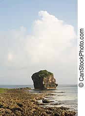 Chuanfan Rock at coastline - Chuanfan Rock, famous coral...