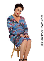 Chubby Adult Woman Sitting on Small Wooden Chair
