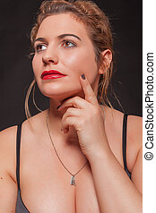 Chubby beautiful young blond woman - Portrait of a beautiful...