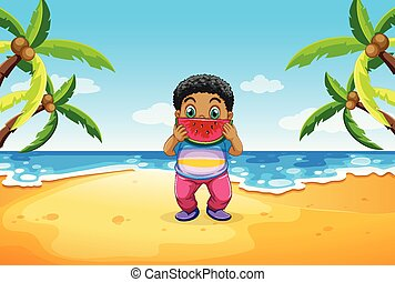 Chubby boy eating watermelon