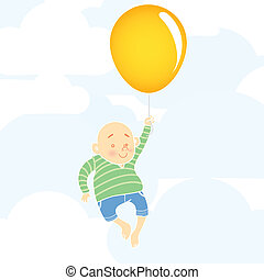 Chubby boy with balloon
