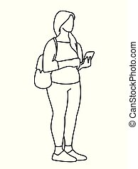 Chubby girl with backpack standing, looking at mobile phone. Vector illustration of young woman checking social networks. Concept. Black lines on white background. Virtual communication.