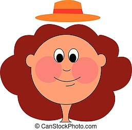 Chubby girl with red hear and hat vector illustration