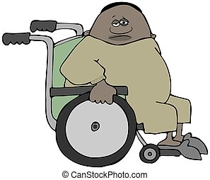 Chubby male patient in a wheelchair