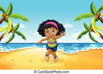 chubby, menina, praia