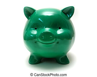 Chubby Piggy - A chubby green piggy bank with a big smile.