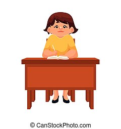 Chubby school girl sitting at the desk, listening and writing