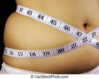 Woman measuring the thickness of her fat belly with a measuring tape