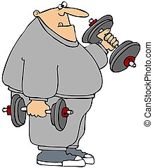 This illustration depicts a chubby man in sweats lifting weights.