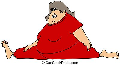 Chubby woman doing the splits - This illustration depicts a...