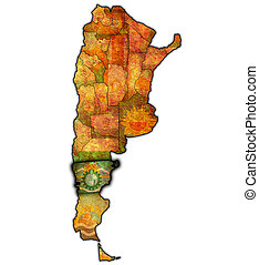 chubut region with flag on map of administrative divisions of argentina