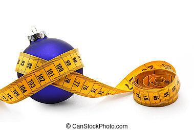 chuchería, cinta, navidad, medida