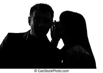 chuchotement, femme homme, couple, une, oreille
