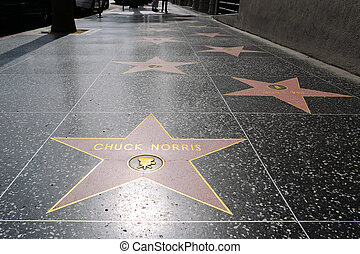 Chuck Norris' star on Hollywood Walk of Fame at Hollywood Boulevard in Los Angeles