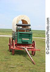 Old chuck wagon on a ranch in Alberta, Canada.