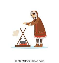 chukchi, 生活, 女, 北, 人々, 北, ずっと, ポット, 料理, 特徴, イラスト, たき火, ...