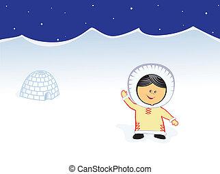 little Chukchi smiling girl vector image
