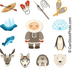Chukchi and north animals decorative icons set with husky deer bear dog isolated vector illustration