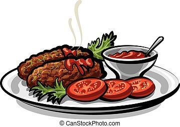 chuletas, con, salsa