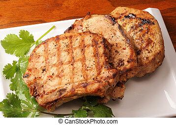 chuletas de cerdo, asado