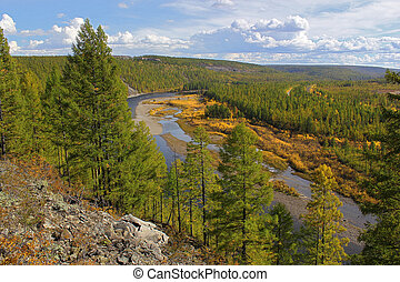 Chulman River in South Yakutia, in the early fall from a height
