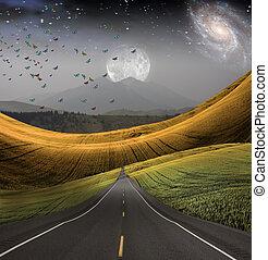 chumbos, distância, estrada