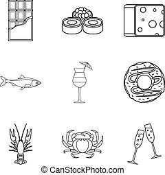 Chummage icons set. Outline set of 9 chummage vector icons for web isolated on white background