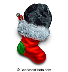 Chunk of coal in holiday stocking as a christmas symbol for naughty children gift or bad people seasonal winter present representing a punishment for bad behavior.