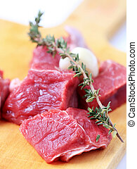 Chunks of beef meat