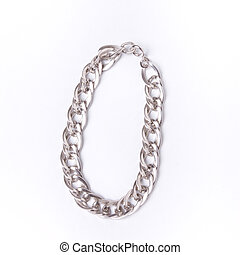 Chunky Silver Charm bracelet against white background.