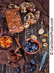 chunky dried fruit cake, top view