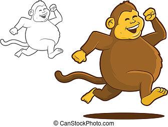 Fat Chimpanzee Running Cartoon