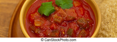 Salsa and tortilla chips - Chunky Salsa and tortilla chips. ...