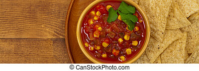 Salsa - Chunky Salsa with Corn. Panoramic image. Selective ...