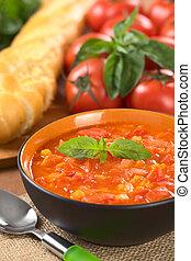 chunky, sopa tomate, feito, de, tomates, cenouras, e,...