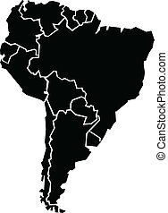 A chunky map of the continent of South America. Map source: Created in Adobe Illustrator CS3 on 4/04/2009.