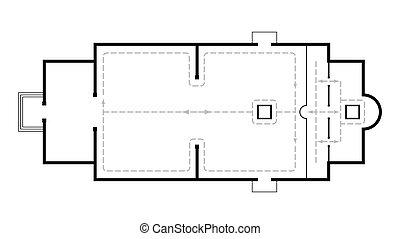 church., 建築である, vigil., monastery., 動き, 夜, 正統, 中世, 計画