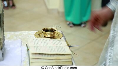 church. a cup of wine for a wedding ceremony