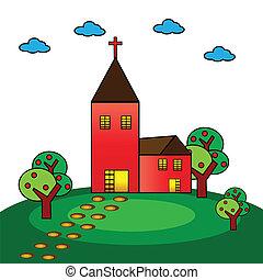 Church - A vector illustration of a christian church