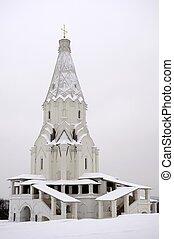 Church against the backdrop of an overcast sky