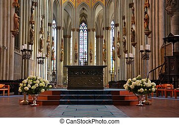 Church altar platform glass art