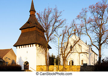 church and bell tower in Bily Ujezd, Czech Republic