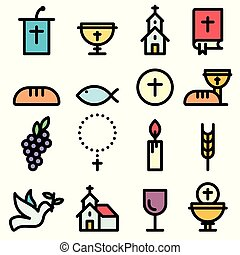 Church and Christian Community Flat Outline Icons. Communion Vector Set.