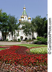 Church and flowers