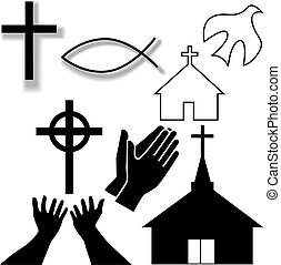 Churches, crosses, holy spirit dove, fish symbol, hands praying and in supplication, as a Christian Symbol Icons Set.
