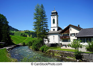 Church and river
