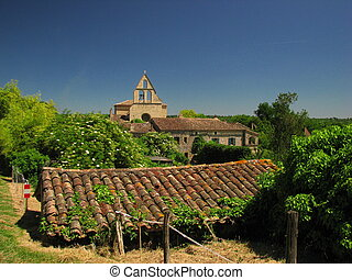 Church and roof, house, Biron, Perigord