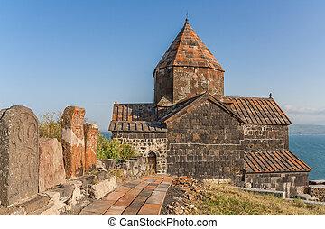 Church and Sevan lake in Armenia