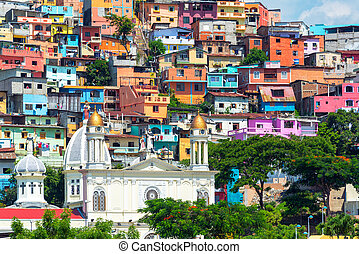 Church and Slum - White church with a colorful slum on a...